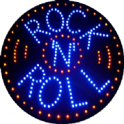 Rock & Roll Round LED Sign